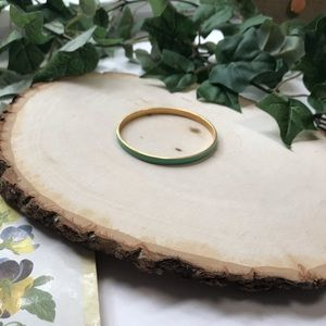 J.Crew Green and Gold Thin Enamel Bangle Bracelet
